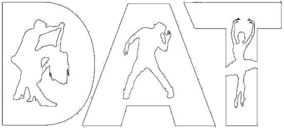 DAT Project logo: the uppercase letters D, A, and T with silhouttes of a ballroom couple, dancer with a hat, and ballerina within them.
